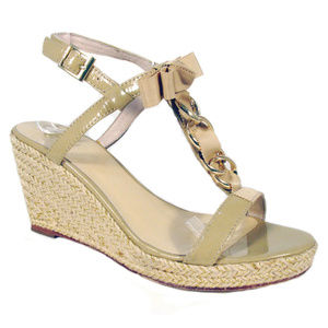 KATE SPADE Patent Leather Wedge Espadrille Sandals